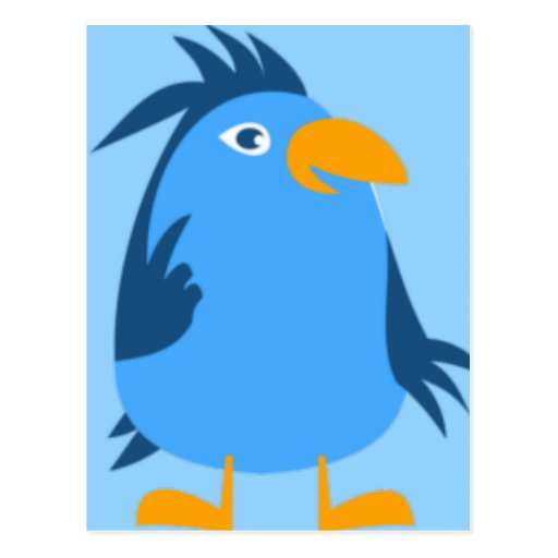Cara azul del pájaro tarjetas postales