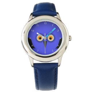 Cara azul divertida del búho relojes de mano