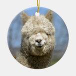 Cara blanca borrosa de la alpaca adorno navideño redondo de cerámica