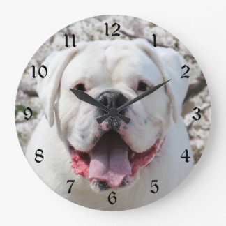 Cara blanca del dogo reloj redondo grande