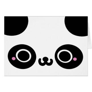 Cara blanca negra de la panda de Kawaii Tarjeton