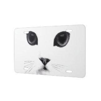 Cara blanca negra del gato del gatito placa de matrícula