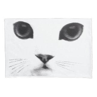 Cara blanca negra del gato funda de cojín
