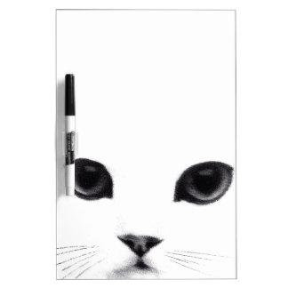 Cara blanca negra dulce del gato pizarras blancas de calidad
