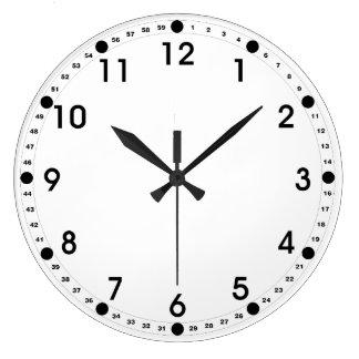 Cara blanca - números negros reloj redondo grande