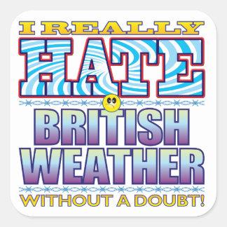 Cara británica del odio del tiempo pegatina cuadrada
