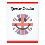 Cara británica del smiley de la bandera invitación 10,8 x 13,9 cm