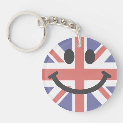 Cara británica del smiley de la bandera llavero redondo acrílico a doble cara