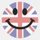 Cara británica del smiley de la bandera pegatinas redondas