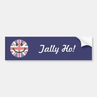 Cara británica del smiley de la bandera pegatina para auto