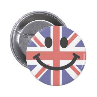 Cara británica del smiley de la bandera pin redondo de 2 pulgadas