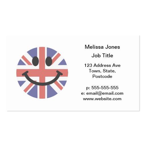 Cara británica del smiley de la bandera tarjetas de visita