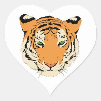 Cara cabeza del tigre calcomania corazon