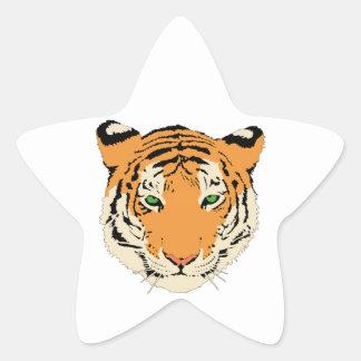 Cara/cabeza del tigre pegatina en forma de estrella