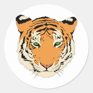 Cara/cabeza del tigre pegatina redonda