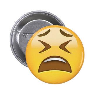 Cara cansada Emoji Pin Redondo De 2 Pulgadas