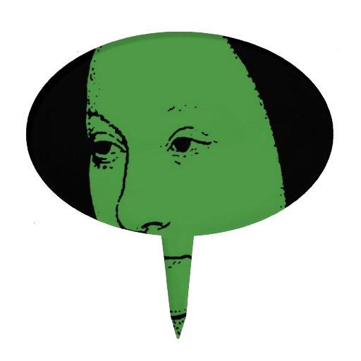 Cara clásica verde del arte figura de tarta