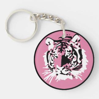 Cara colorida del tigre llavero redondo acrílico a una cara