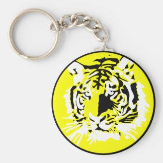 Cara colorida del tigre llavero redondo tipo pin