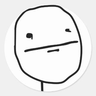 Cara cómica de la cara de póker etiqueta redonda