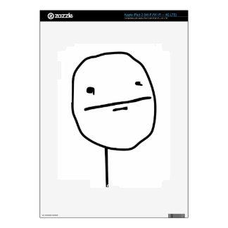 Cara cómica de la cara de póker pegatina skin para iPad 3