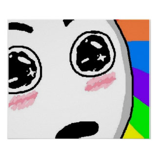 Cara cómica del arco iris del wow póster