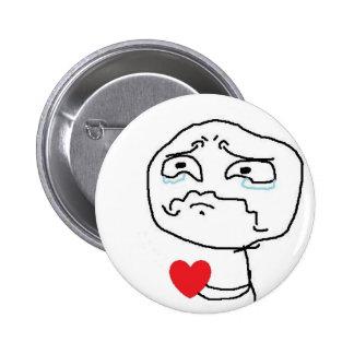 Cara cómica del corazón quebrado pin redondo de 2 pulgadas
