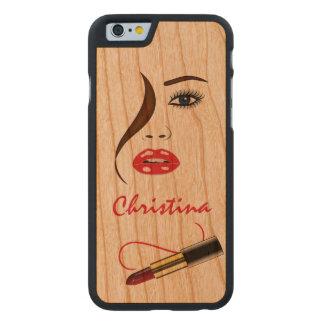 Cara con el caso de madera 6S del iPhone 6 de Funda De iPhone 6 Carved® Slim De Cerezo