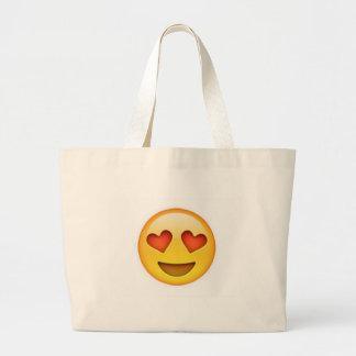 Cara con el pegatina en forma de corazón del emoji bolsa tela grande