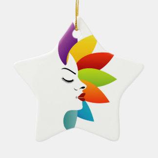 Cara con las hojas coloridas adorno de cerámica en forma de estrella