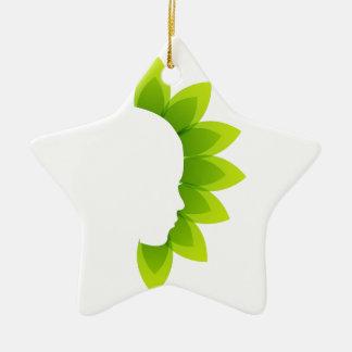 Cara con las hojas verdes adorno de cerámica en forma de estrella