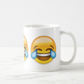 Cara con los rasgones de la alegría Emoji Taza Básica Blanca