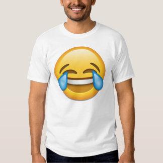 Cara con los rasgones del emoji de la alegría playeras