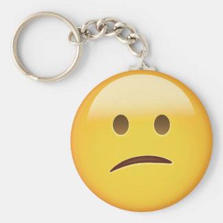 Cara confusa Emoji Llavero Redondo Tipo Pin