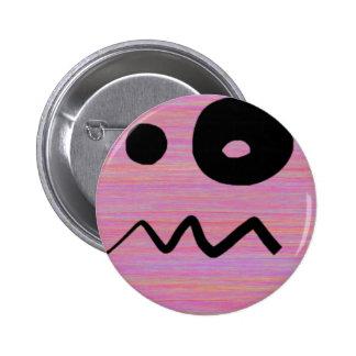 Cara confusa tonta del Emoticon del dibujo animado Pin Redondo 5 Cm