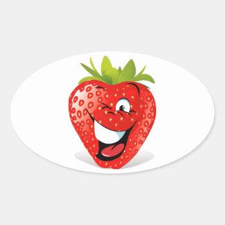 Cara de guiño feliz de la fresa pegatinas óvales