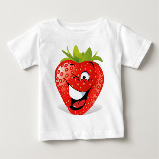 Cara de guiño feliz de la fresa playera de bebé