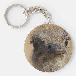 Cara de la avestruz llavero redondo tipo pin