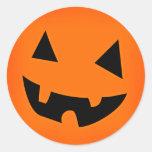 Cara de la calabaza de Halloween Pegatinas Redondas