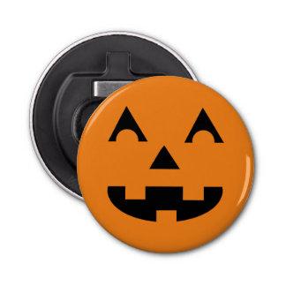 Cara de la calabaza de la linterna de Halloween Abrebotellas Redondo
