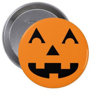 Cara de la calabaza de la linterna de Halloween Pin Redondo De 4 Pulgadas