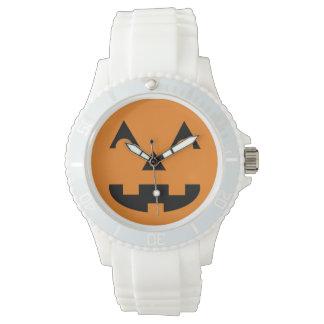Cara de la calabaza de la linterna de Halloween Relojes