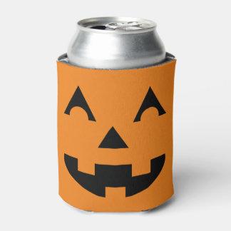 Cara de la calabaza de la linterna de Halloween Enfriador De Latas