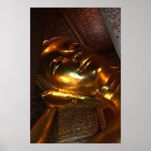 Cara de la estatua del oro de Buda Póster