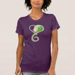 Cara de la forma del corazón - verde camisetas