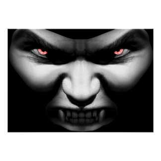 Cara de la impresión malvada del poster del vampir