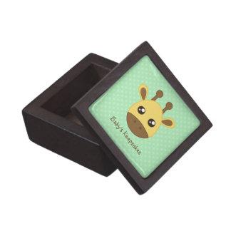 Cara de la jirafa del bebé cajas de recuerdo de calidad