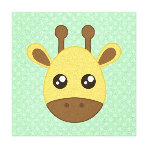 Cara de la jirafa del bebé lona estirada galerías