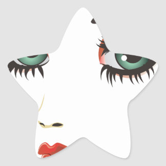 Cara de la mujer de la belleza pegatina en forma de estrella