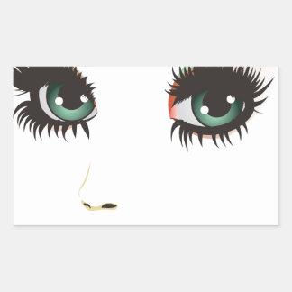 Cara de la mujer de la belleza pegatina rectangular